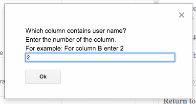 Column for participant name