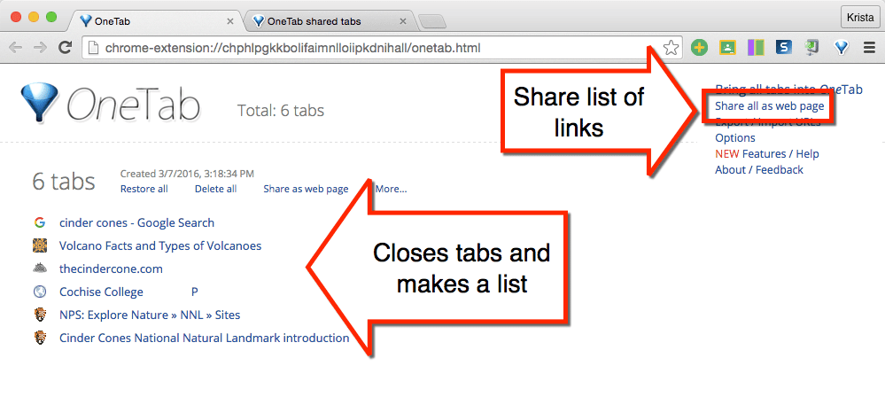 OneTab share the list of links