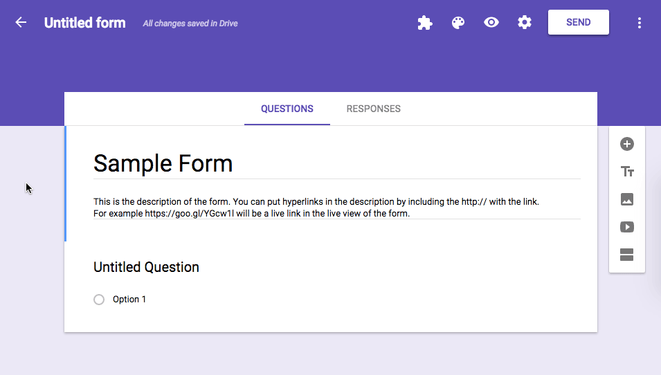 Google forms title