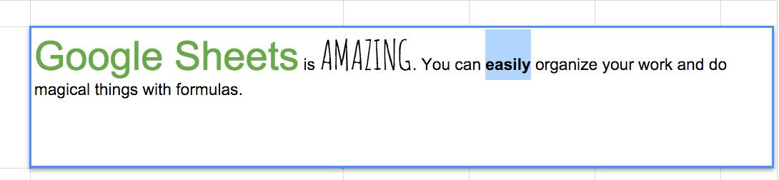 google sheets edit text