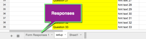 Spreadsheet responses tab