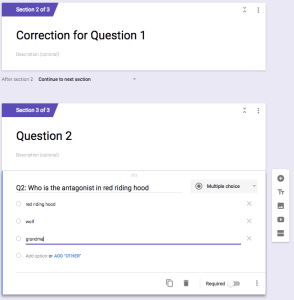 create sections or pages on Google Forms