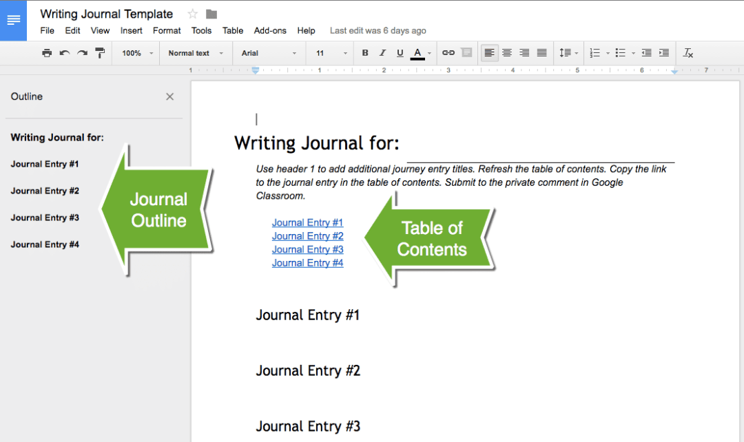 Alice Keeler Writing Journal Template