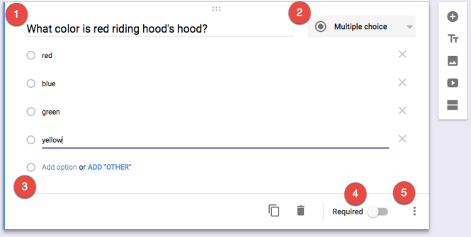 Google Forms create a question