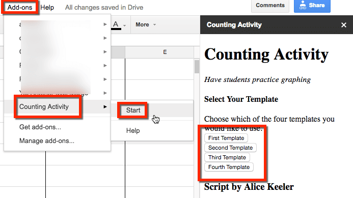 Google Sheets exploring graphing add on menu