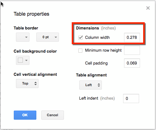 adjust the column width in the table properties