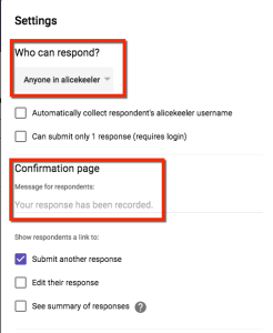 Google Forms settings choices