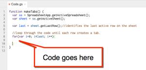 google sheets script for loop