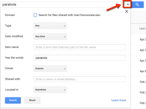 search and filter in Google Drive