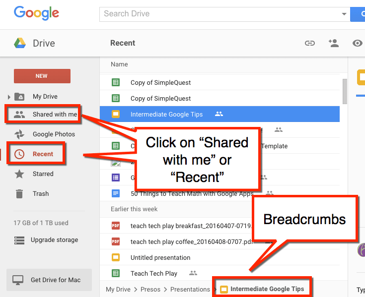 shared with me recent google drive breadcrumbs