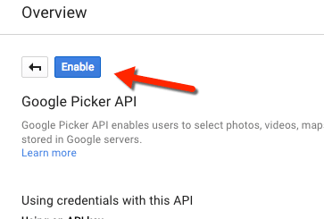 enable google picker API