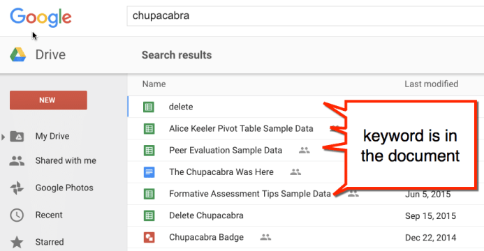 Google Drive search for a keyword