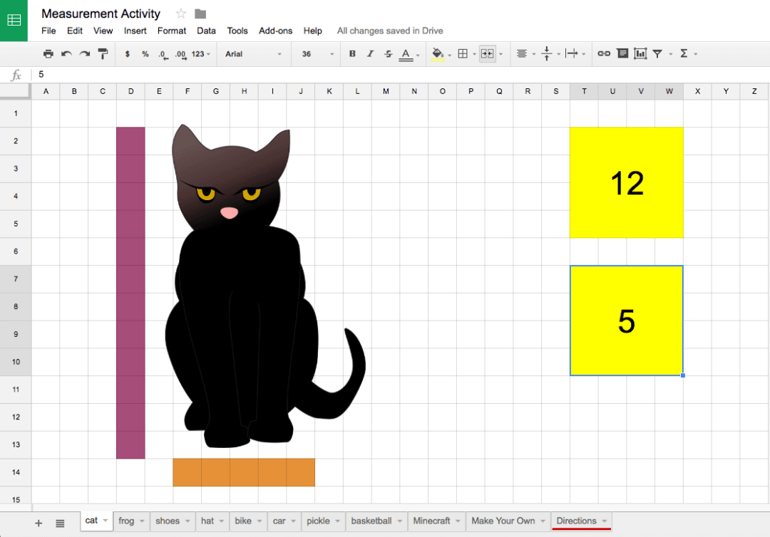 measurement activity Google Sheets Kindergarten count measure