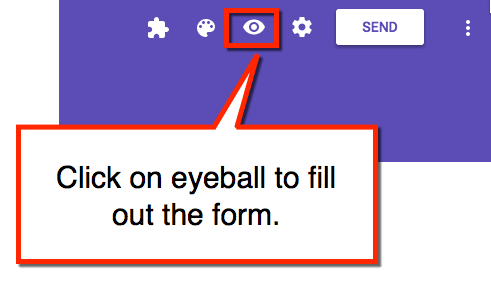 click on eyeball to fill out the form.