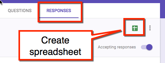 create a spreadsheet in Google forms