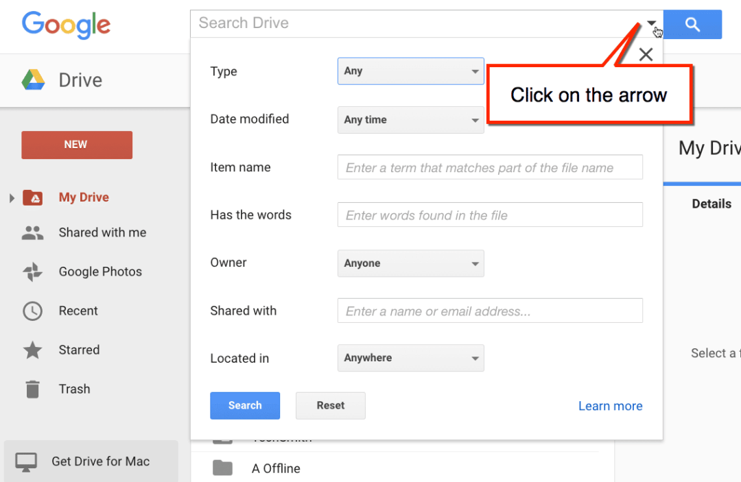 google drive search options filter google drive