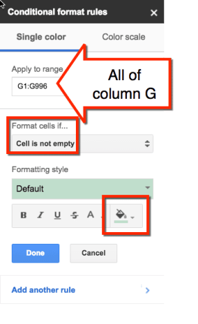 google sheets format the cells conditional formatting