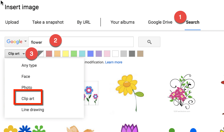 insert image by choosing search and clip art