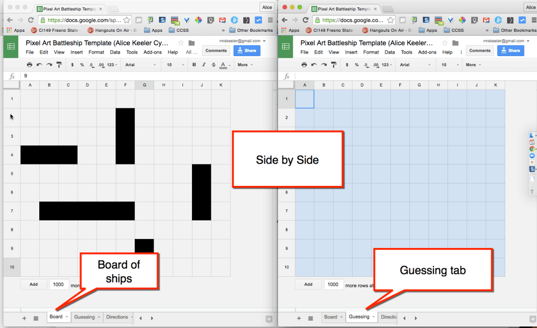 same spreadsheet side by side