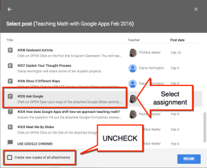 select assignment in Google Classroom
