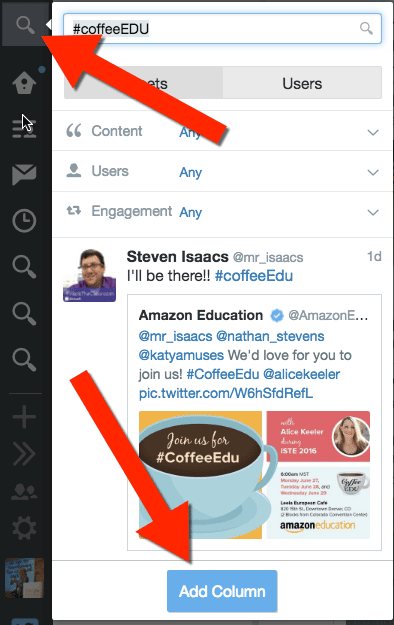 #coffeeEDU at ISTE insert a column into tweetdeck