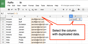 duplicated data use unique formula