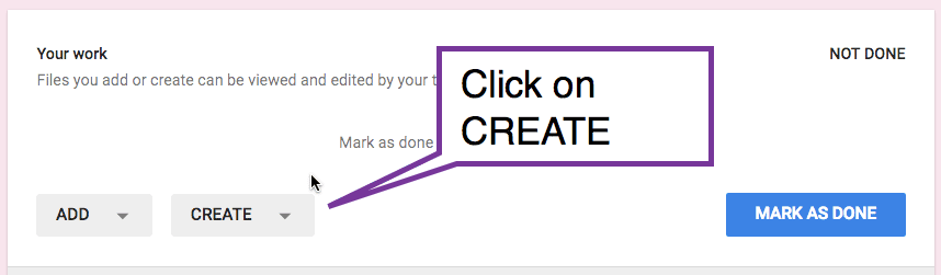 click on create in google classroom