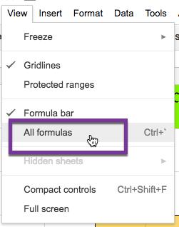 view all formulas