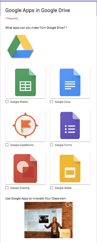 image options in Google Forms
