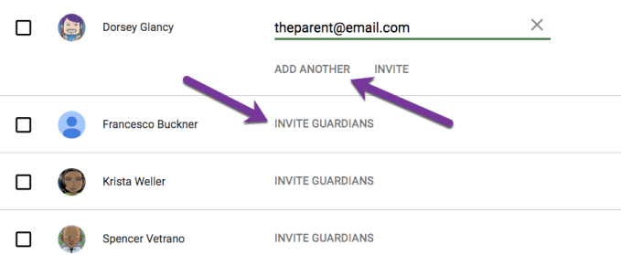 add a parent email