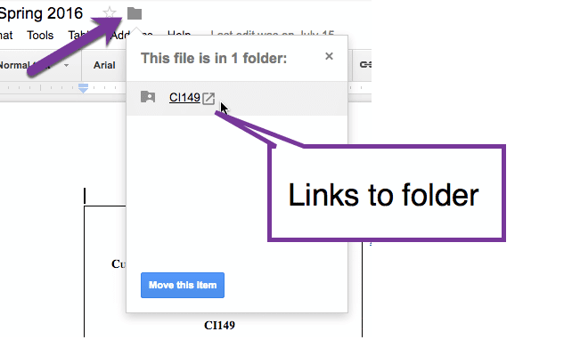 folder icon shows location of the document