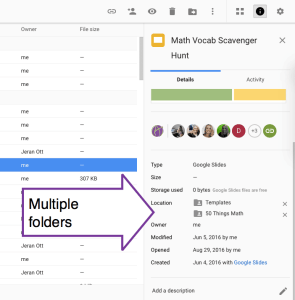 Multiple folders in Google DRive for a document
