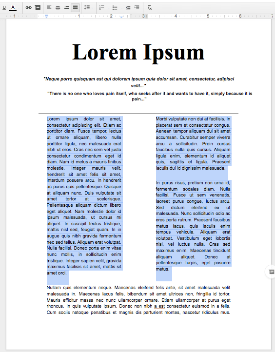columns in a Google Doc