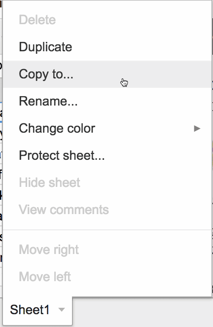 copy to from one spreadsheet to another