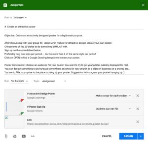 sample google classroom assignment