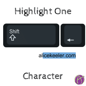highlight or select the missing character