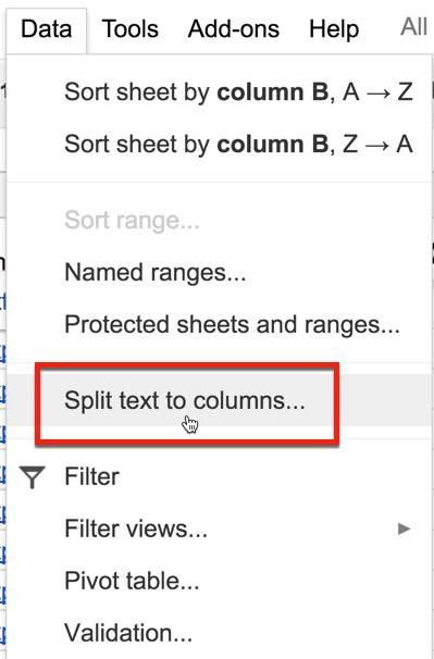 split text to columns data menu