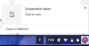 Chromebook screenshot notification