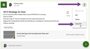copy link to Google Classroom Assignment