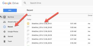 SlideShot under Recent in Google Drive