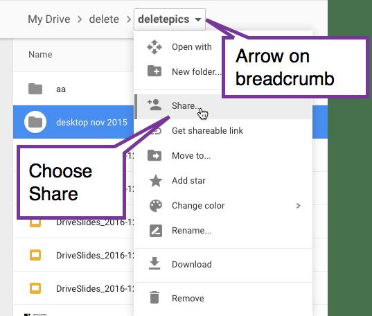 Arrow on breadcrumbs in Google Drive