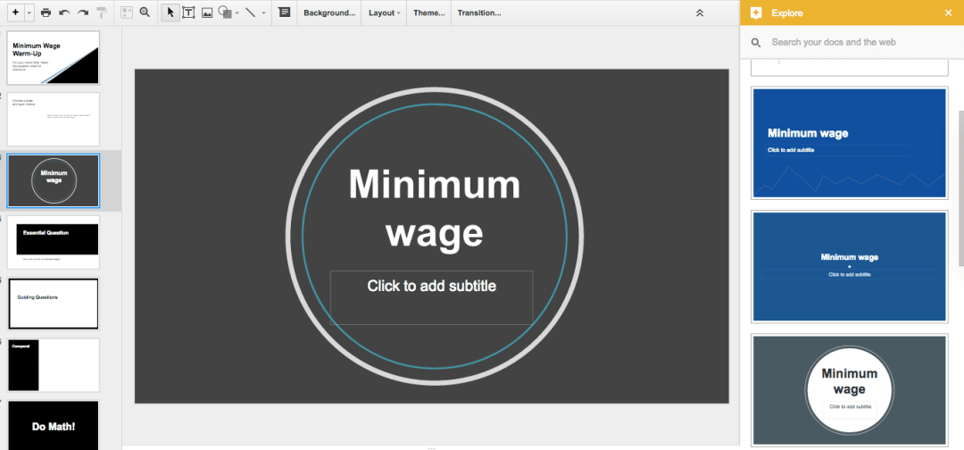 explore layouts in Google Slides