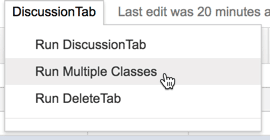 run multiple classes from the discussiontab menu