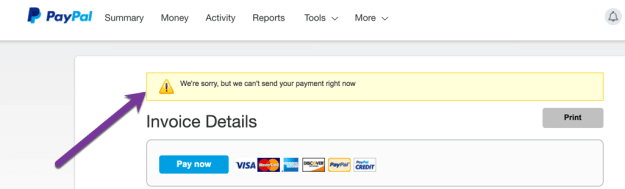 PayPal can't send my payment