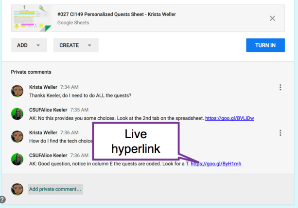 Live hyperlink in private comments