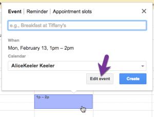 google calendar create an event