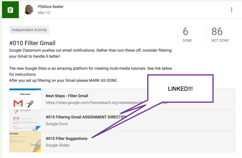 Linked not attached in Google Classroom