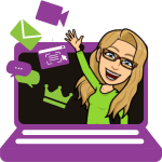 Purple laptop with Alice's bitmoji waving from the screen with icons including video camera, envelope, text bubbles, crown, and a webpage next to the bitmoji