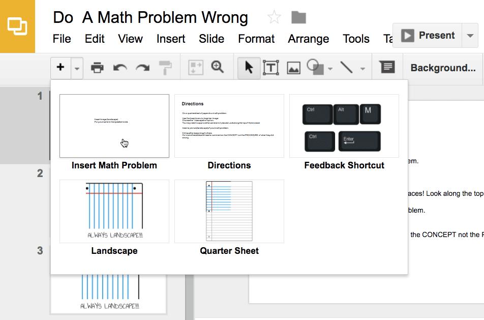Do a math problem wrong