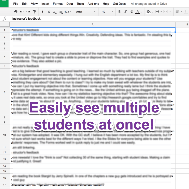 Easily see multiple student responses at once